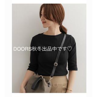 ドアーズ(DOORS / URBAN RESEARCH)のアーバンリサーチ  ドアーズ    針抜き 6分袖 カットソー ブラック(Tシャツ(長袖/七分))