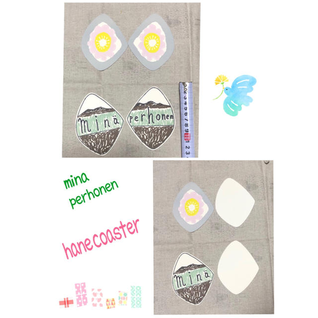 mina perhonen(ミナペルホネン)のお値下げ❣️ミナペルホネンhane coaster4枚1セット インテリア/住まい/日用品のキッチン/食器(テーブル用品)の商品写真