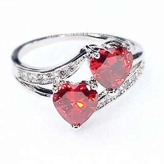 ★新品★ レディース リング 指輪 ダブルハート レッド 赤 R359(リング(指輪))