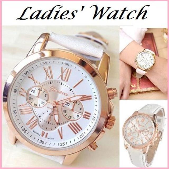 ルイビトン 時計 偽物 - 腕時計 ホワイト クロノグラフ アナログ レディース ウォッチ genevaの通販 by たっきー's shop|ラクマ