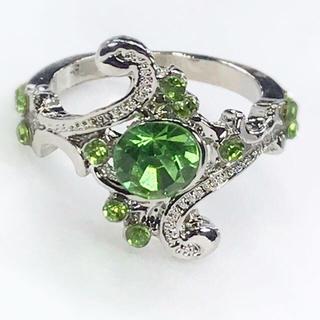 ★新品★ レディース リング 指輪 グリーン 緑 JZ-024(リング(指輪))