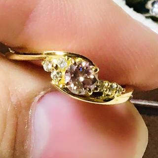 天然ピンクダイヤモンド FBP 0.3ct K18WG リング(リング(指輪))