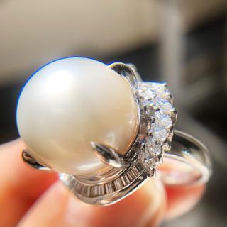 セール!未使用 大粒 14㎜ 南洋真珠 指輪 ダイヤモンドリング1.2ct(リング(指輪))