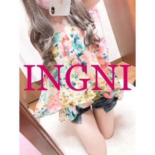 イング(INGNI)の858.INGNI シフォン フラワー 花柄 バッククロス キャミチュニック(キャミソール)