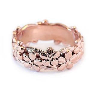特価!桜のステンレスリング ピンク レディース8、9号相当(リング(指輪))