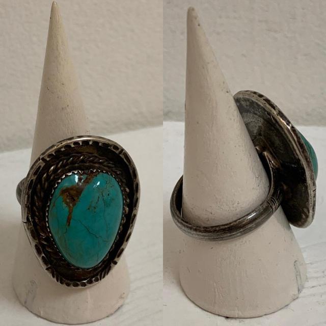 VINTAGE ヴィンテージ ターコイズ シルバーリング シルバー925 17号 メンズのアクセサリー(リング(指輪))の商品写真