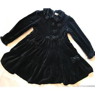 ◆むーのんのん◆ベロア黒◆お花+リボンコサ◆秋冬ドレスワンピ◆(ドレス/フォーマル)