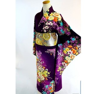 ハナエモリ(HANAE MORI)の美品 本振袖 ハナエモリ 森英恵 紫 (振袖)