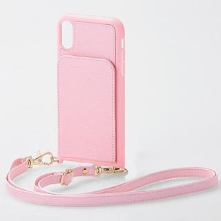 エレコム(ELECOM)のiPhone XR ケース 縦型 ショルダーストラップ付 ライトピンク カバー(iPhoneケース)