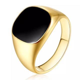 ブラックスクエアリング 14mm幅 ゴールド 単品(リング(指輪))