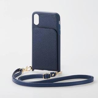 エレコム(ELECOM)のiPhone XR ショルダーストラップ付き 縦型ケース ネイビー スマホ(iPhoneケース)