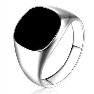ブラックスクエアリング 14mm幅 シルバー 単品(リング(指輪))