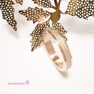 18号サイズ ステンレス製 ピンクゴールドザラザラリング 幅4mm 指輪(リング(指輪))