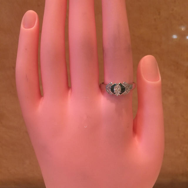 ★大きめの20号★プラチナPt900エメラルド&マーキスダイヤリング0.51ct レディースのアクセサリー(リング(指輪))の商品写真