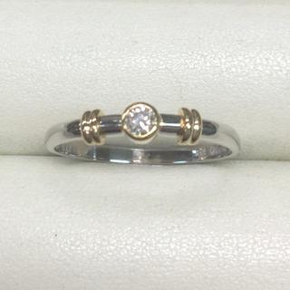★大きめの20号★プラチナPt900&K18ダイヤモンド・デザインリング0.12(リング(指輪))