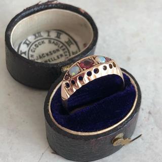 アンティーク エドウォーディアン ジプシーリング ルビー オパール ホールマーク(リング(指輪))
