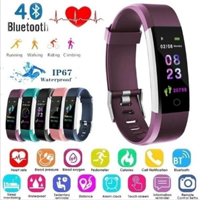 【新品】スマートウォッチパープル血圧測定,LINE,instagram対応の通販 by 平日発送|ラクマ