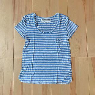 ミュベールワーク(MUVEIL WORK)のmuveil work ハートパッチポケットボーダーTシャツ(Tシャツ(半袖/袖なし))