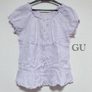 ジーユー(GU)のGU パープルブラウス トップス(シャツ/ブラウス(半袖/袖なし))