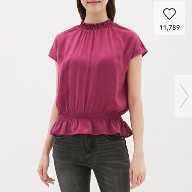 GU(ジーユー)のGU サテンフリルネックブラウス レディースのトップス(シャツ/ブラウス(半袖/袖なし))の商品写真
