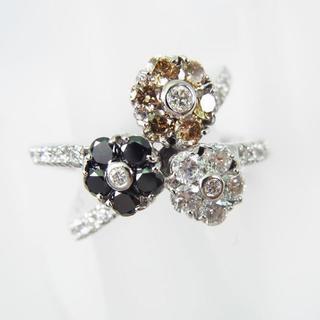 K18WG 無色 ブラウン ブラック ダイヤモンド リング 11号[f42-1](リング(指輪))