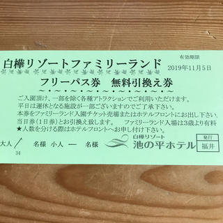 白樺リゾート池の平ファミリーランド  フリーパス券 無料引換券(遊園地/テーマパーク)