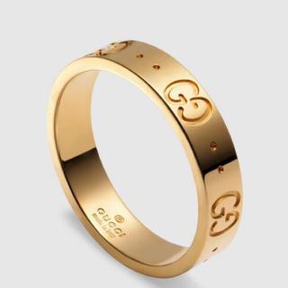 グッチ(Gucci)のGUCCI グッチ イエローゴールド アイコン 指輪 リング ロゴ 美品 9号(リング(指輪))