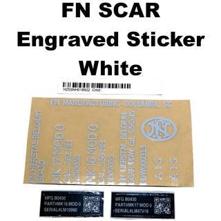 FN SCAR 刻印 メタルステッカー ホワイト 775-1102r(カスタムパーツ)
