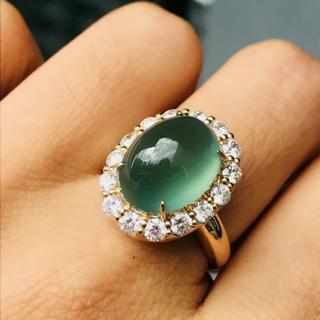 546 k18金 翡翠 ピンクゴールドリング 翡翠リング 豪華指輪 結婚記念日(リング(指輪))