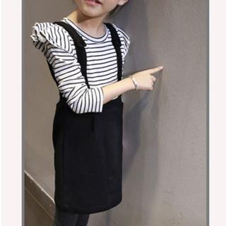 韓国子供服 肩にプリーツフリルのついた タイトスカート(ワンピース)
