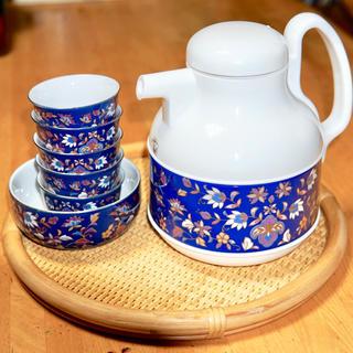 ゾウジルシ(象印)の【未使用】象印マホービン 茶こし付きガラス魔法瓶+湯のみ5つ+器セット(食器)