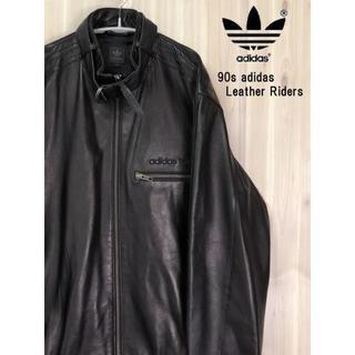 アディダス(adidas)のUSED 90sアディダス 美品 羊革レザー ライダースジャケット 黒(レザージャケット)