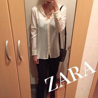 ザラ(ZARA)の背中と袖のみウール❁シフォンブラウス(シャツ/ブラウス(長袖/七分))