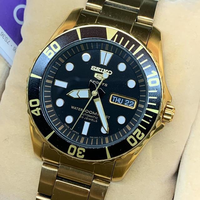 ロレックス 時計 購入 - SEIKO - SEIKO セイコー5スポーツ ブラックxゴールド 自動巻の通販 by shop|セイコーならラクマ