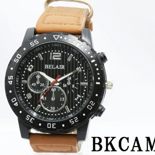 メンズ 腕時計(ブラックキャメル)の通販 by しょっぷShiba|ラクマ