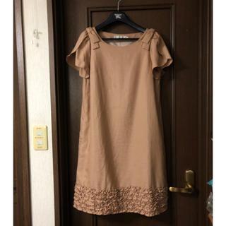 クチュールブローチ(Couture Brooch)のクチュールブローチ38チューリップ袖りぼんワンピース裏地付き(ひざ丈ワンピース)