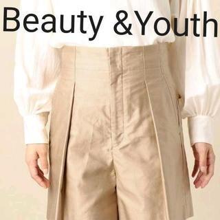 ビューティアンドユースユナイテッドアローズ(BEAUTY&YOUTH UNITED ARROWS)の新品未使用!Beauty & Youthコットンモールスキン タックキュロット(ハーフパンツ)