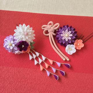 つまみ細工 髪飾り 紫 / 成人式 卒業式 結婚式 他(ヘアアクセサリー)