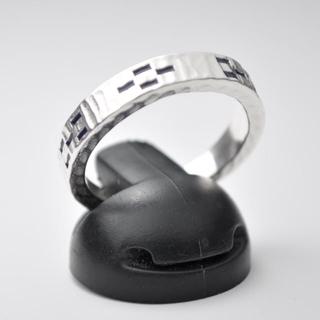 ★沖縄 ミンサーリング silver925 フリーサイズ ブラック★(リング(指輪))