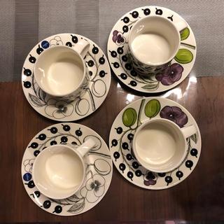 アラビア(ARABIA)のはな様専用 アラビア ティーカップ&ソーサー パープル2セット(グラス/カップ)