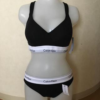カルバンクライン(Calvin Klein)のカルバンクライン ブラレット&ショーツ ブラック Lサイズ(ブラ&ショーツセット)