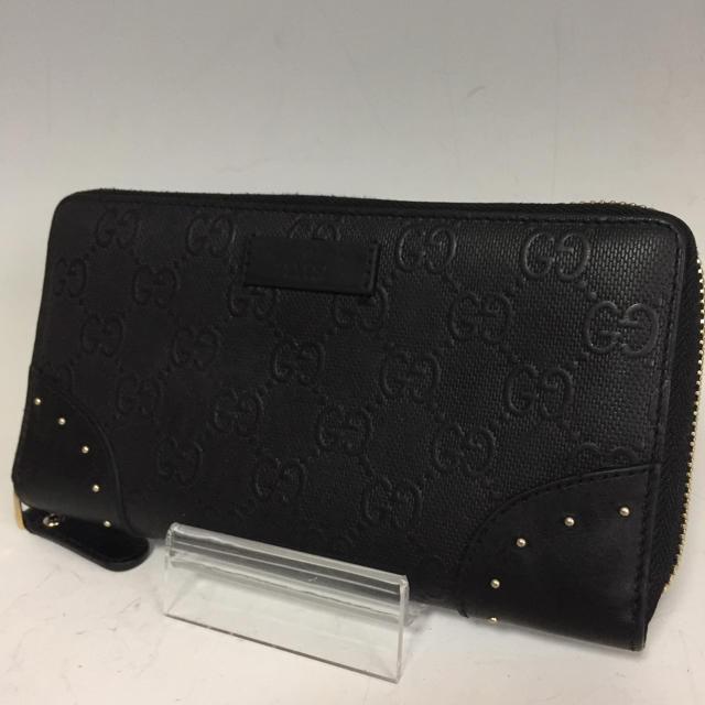 Gucci - GUCCI 黒 GG スタッズ  長財布 ディアマンテ レザー グッチの通販 by プロフ必読お願いします。|グッチならラクマ