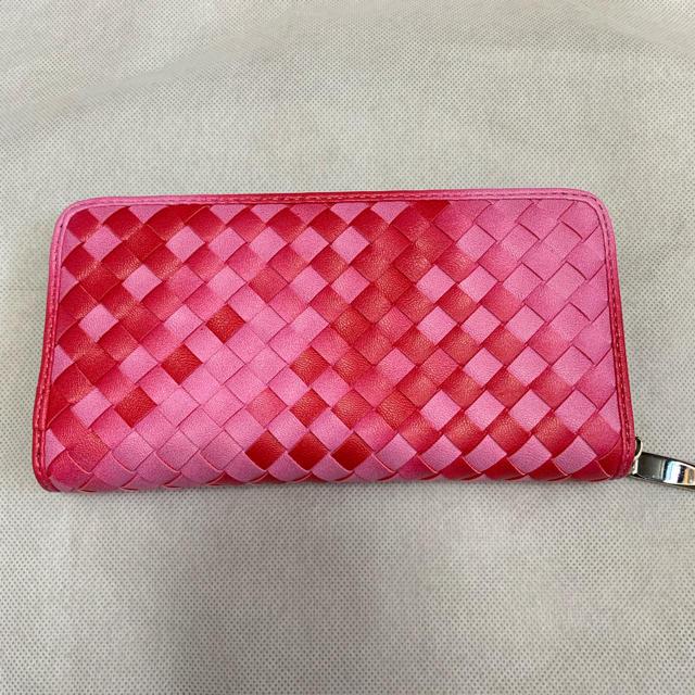 編み込み柄 長財布 ピンク ラウンドファスナー   の通販 by rk's shop|ラクマ