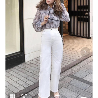 エイミーイストワール(eimy istoire)のeimy istoire♡ハイウエストワイドデニムパンツWHITE(デニム/ジーンズ)