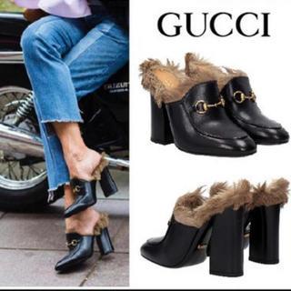 グッチ(Gucci)のgucci ホースビット ファー パンプス 確実正規品(ハイヒール/パンプス)