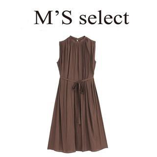エムプルミエ(M-premier)の今季新品34 m's select ギャザーデシンワンピース(ブラウン)(ロングワンピース/マキシワンピース)