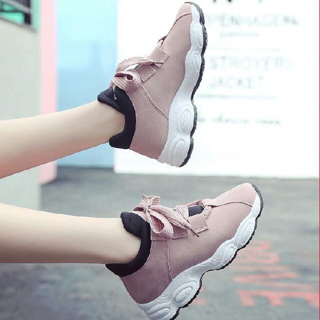 新作 レディース 可愛  カジュアル 厚底 スニーカー ピンク       レディースの靴/シューズ(スニーカー)の商品写真