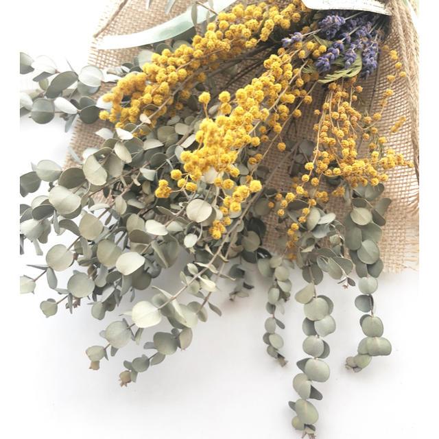 ミモザとユーカリとラベンダーのナチュラルスワッグ♪ ハンドメイドのフラワー/ガーデン(ドライフラワー)の商品写真