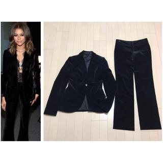 グッチ(Gucci)の本物 GUCCI グッチ 1B ベロア パンツスーツ 38 ブラック 黒(スーツ)