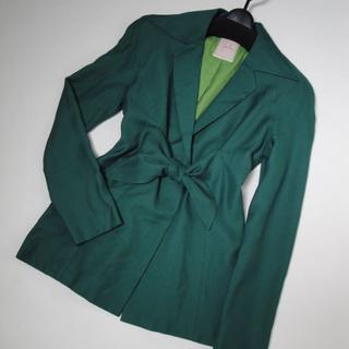 シビラ(Sybilla)の【美品】◆Sybilla◆グリーンのテーラード リボン ジャケット Mサイズ(テーラードジャケット)